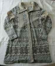Women's SUNDANCE Long Cardigan Sweater Gray Merino Wool Medium