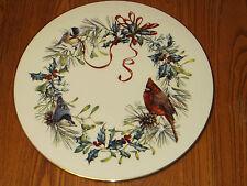 """Lenox Winter Greetings Cake Plate Cardinal Holly Christmas Birds 11.75"""""""