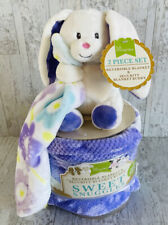 Little Miracles Floral Baby Blanket Costco Flowers Purple White Soft bunny Plush