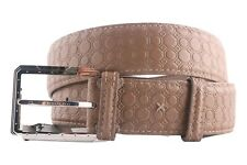 Stefano Ricci Men's Beige Calf Leather Belt Silver Buckle,S 85 to 115 Free Ship
