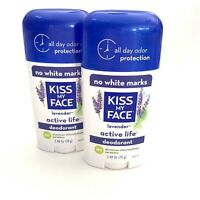 Kiss My Face Active Life Deodorant Lavender 2 Pack LOT SOLID Aluminum Free