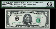 1969c $5 Cleveland Federal Reserve Note FRN • PMG 66 EPQ • Fr.1972-D