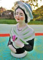 Poupée Ancienne Demi Bonbonnière Porcelaine  France Antique doll half bonbonnier