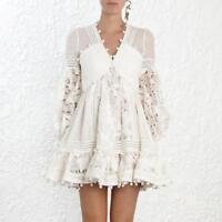 Womens Runway White Ruffle Lace Cutout Dot Tassels Dresses Zimmerman Style Beach