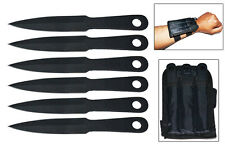 NEW 6 Piece Throwing Knife Set w/ Wrist Sheath Black Knives