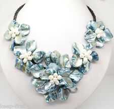"""Fashion Natural Blue Mother Of Pearl Shell Flower Necklace Long  18"""" AAA"""