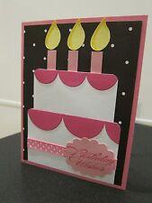 "Stampin Up ""Birthday Wishes"" Cake Pieced Handmade Card"