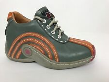 ZOBR Italian Design Leather Olive Green Orange Mid-High Casual Shoe Quality 6