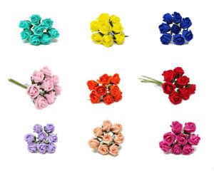 8 Head Foam Rose Bud Bunch x 3cm - Wedding Corsage Buttonhole Artificial Flower