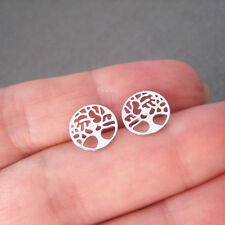 Boucles d'oreilles puces motif arbre de vie rond ajouré argent 925 BO251
