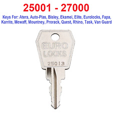 25001 - 27000 Keys Cut to code bureau touches, Locker clés, Toit Rack Keys, Ascenseur Keys