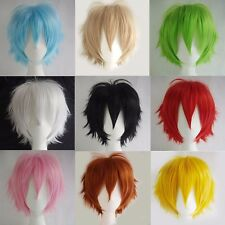 New Male Female Straight Short Hair Wig Cosplay Party Anime Full Wigs Colorful #