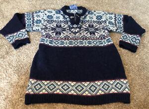Vintage Icewear Fair Isle Ski Sweater Size L Lithuania Europe 100% Pure New Wool