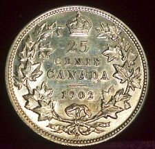 1902H  CANADA 25 CENTS  ABOUT UNCIRCULATED