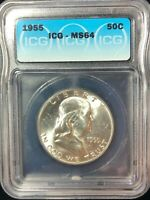 1955 Franklin 50 Cent Silver Half Dollar MS 64 Bright White ICG Certified