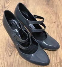 Balenciaga El Corte Ingles Vintage Grey Patent Leather Mary Jane Style Heel 4UK