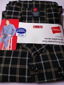 Hanes Men's Woven Pajama Set Long Sleeve & Long Pant Black/Grey Plaid Size S