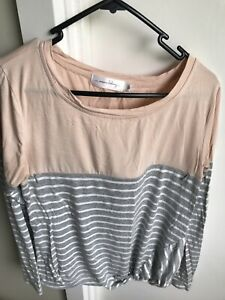 Mama Clothing Maternity Breastfeeding Long Sleeve Top Tshirt Size 10