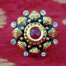 South Indian Ring Adjustable Gold Plated Polki Tradititional Ethnic Jewellery