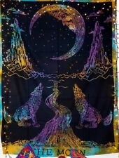 Indian Tapestry Poster Mandala WallHanging Throw Bed Tapestries Wolf Moon Multi