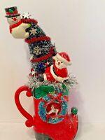 Vintage Christmas Santa Claus Ceramic Bottle Brush Tree Up Cycled Assemblage