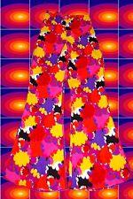 31✪ 60er 70er Jahre Hippie Herren Schlaghose Boney M rot orange Muster Gr 48 50