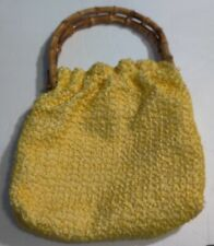 VINTAGE SOFT YELLOW PURSE WITH BAMBOO HANDLE