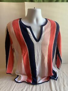 TOMMY BAHAMA multicolor Sheer Crochet Knit Sweater Top Women Size medium