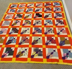 "Vintage Quilt Butterflies Handmade Stitched Orange Purple Yellow 78""x92"" Boho"