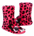 NWT Justice Girls Bootie Style Cheetah Pink Wht Blk SLIPPERS Sz XSmall 13/1 $28