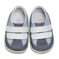 Boys Infant Baby Toddler Children's White Blue&Grey REAL Leather & Suede Shoes