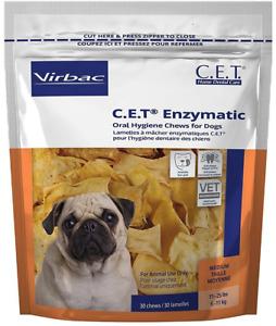 C.E.T. Enzymatic Oral Hygiene Chews REDUCE PLAQUE & TARTAR Medium Dog 30 Count