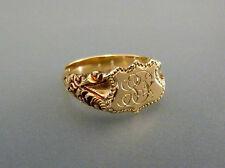 Antiker Jugendstil Herrenring 585 Gold Wappen Siegelring Initialen SP LP Gr. 63