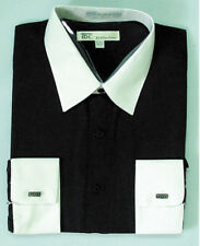 Men's French Cuff Solid Dress Shirt 03F2 Classic Fit Contrast Collar