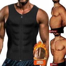 Men's Sweat Sauna Waist Trainer Zip Vest Weight Loss Top Neoprene Body Shaper