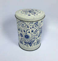 """Vintage Collectible Blue Floral Unique Design Tin Can Canister Approximately 6"""""""