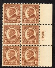 US STAMP #553 — 1.5c HARDING — PLATE BLOCK 6 — 1925 - MINT