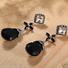 Handmade 1pair Woman's Black Crystal Rhinestone Long Ear Stud Hoop earrings 150