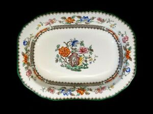Beautiful Copeland Spode Chinese Rose Green Trim Oval Oven Dish