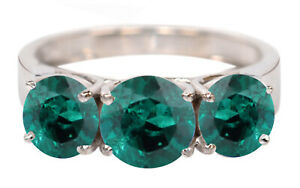4.00Ct Round Shape Natural Zambian Emerald Solitaire Ring In 925 Sterling Silver