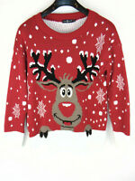 Pura Moda Womens Christmas Jumper Rudolf Reindeer Red Warm Thick Knit Size M/L