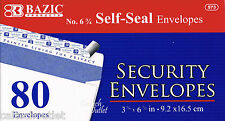 "80 Peel & Self-Seal White Letter Mailing Security Envelopes 3-5/8"" x 6-1/2"""