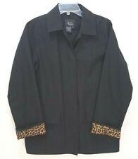 Dennis Basso Black Jacket Blazer Leopard Animal Print Collar & Cuffs - Womens XS
