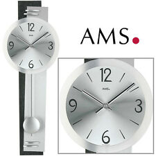 AMS Horloge murale 7255 quartz Horloge à PENDULE HORLOGE DU SALON aluminium poli
