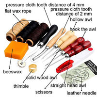 13Pcs Leather Craft Hand Stitching Sewing Tool Thread Awl Waxed Thimble Kit Cw