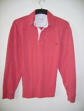 "MENS ""CREW CLOTHING"" L/S RED 100% COTTON RUGBY STYLE TOP SIZE MEDIUM"
