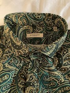 Burberry Green Kharki Camo  Paisley Shirt XL