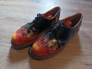Vtg Tredair Doc Martens Sunburst Flames Oxford Shoes Mens 10 Rockabilly Hipster