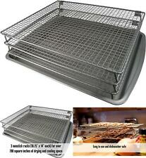 Stackable Food Dehydrator Drying Rack 3 Tier Baking Pan Jerky Meat Non Stick New