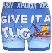 Mens Boys Xplicit DESIGNER Rude Novelty Boxer Shorts Trunks Funny Gift Underwear Tugger Turkish Sea XXLarge W40- W42